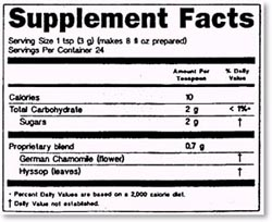 supplement facts template rules for supplement labels